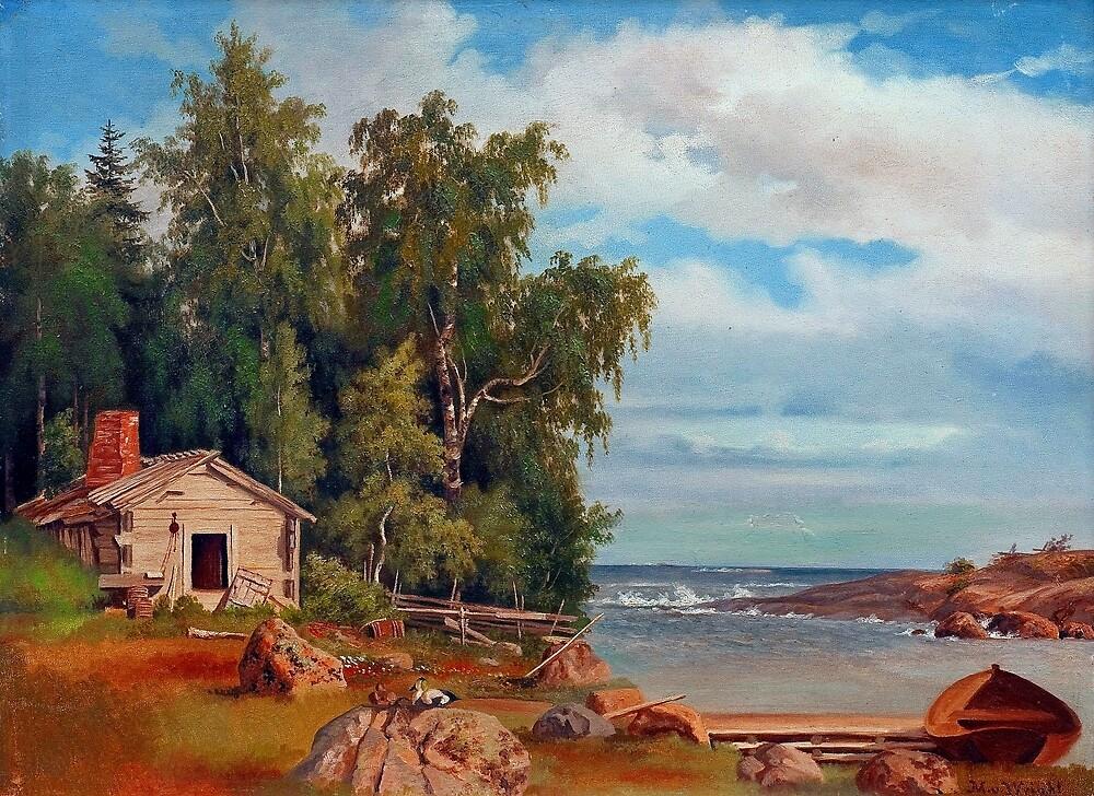 Magnus von Wright Beach Landscape from Lövö by pdgraphics