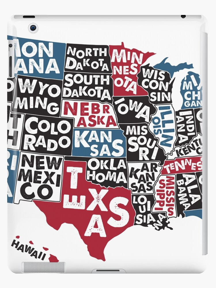 \'Poster map of United States of America with state names.\' iPad Case/Skin  by Moloko88