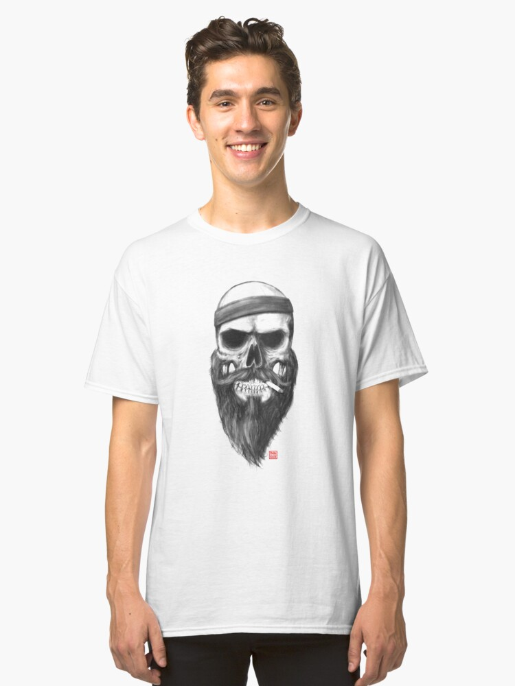 Agent Skully with a 80s Headband and his impressive Beard Classic T-Shirt Front