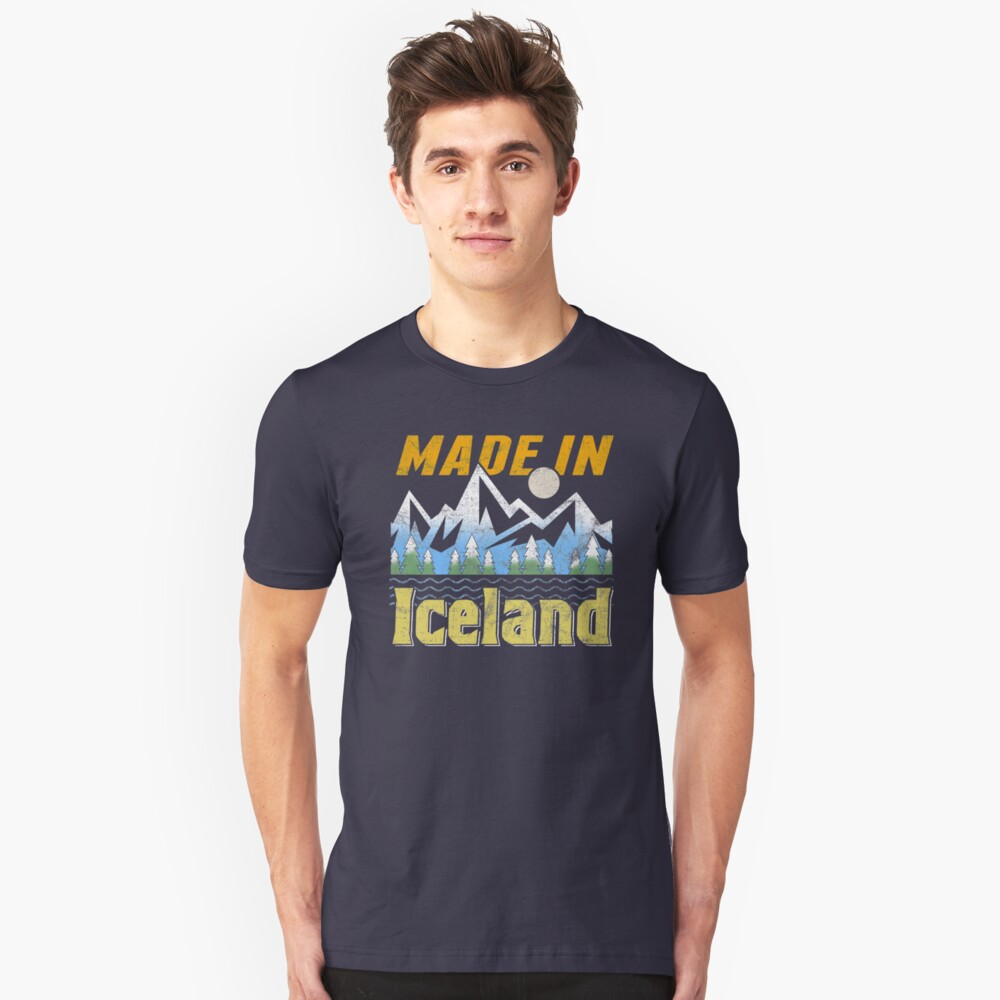 Made in Iceland Camping style design for proud Icelanders Unisex T-Shirt Front