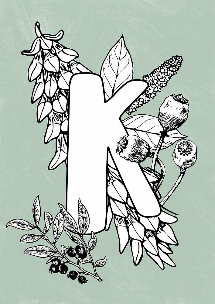 Alphabet vintage floral botanical letter K by katietails