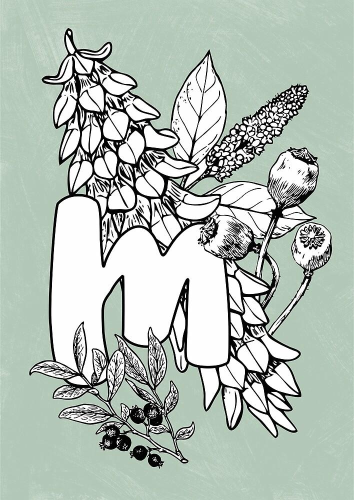 Alphabet vintage floral botanical letter M by katietails