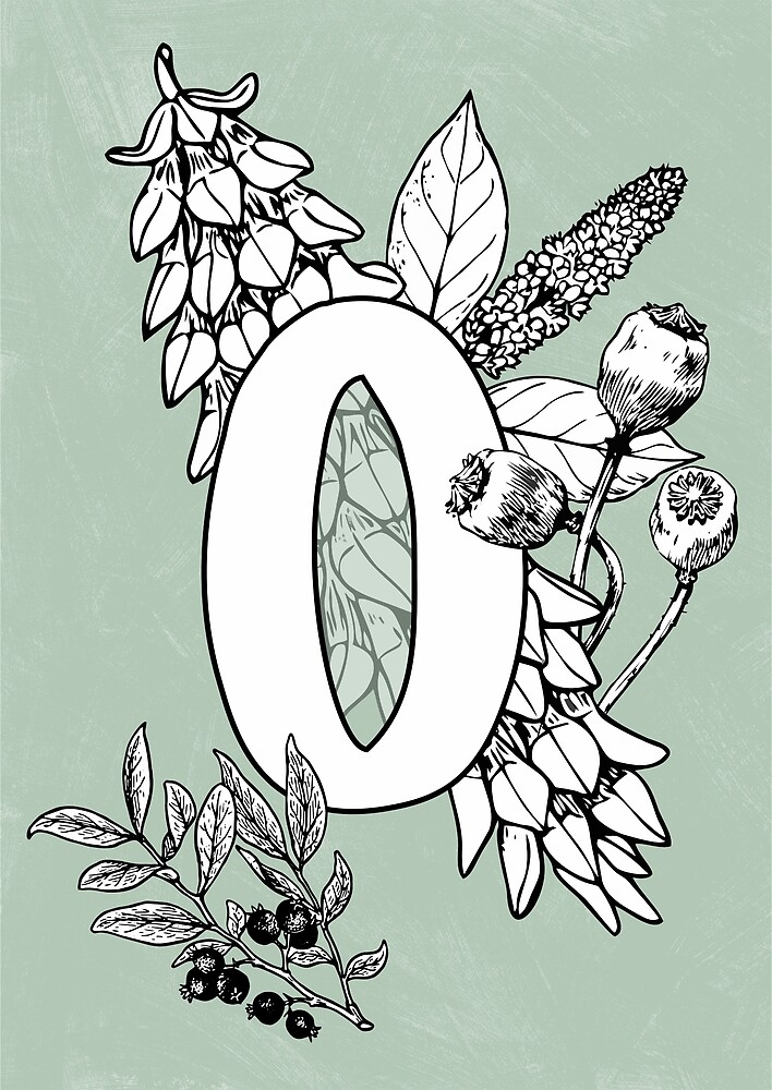 Alphabet vintage floral botanical letter O by katietails