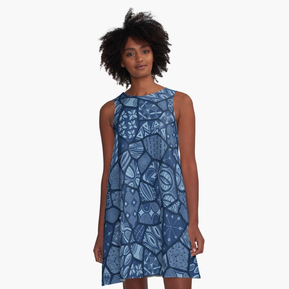 Adire Eleko Batik A-Line Dress Front