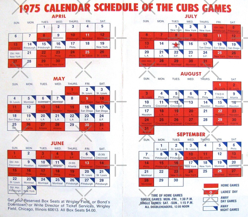 1975 Cubs Baseball Schedule by collageDP