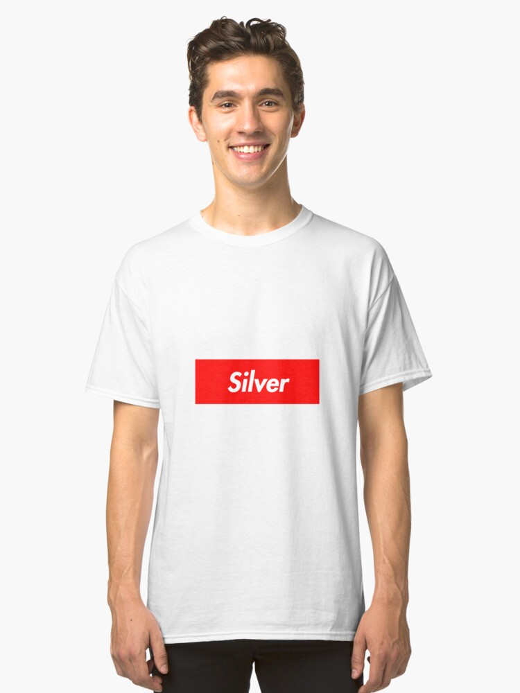 Silver Supreme Logo Classic T-Shirt Front