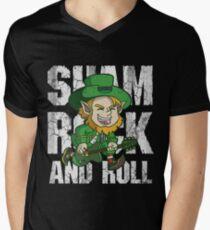 Irish Shamrock and Roll Leprechaun  Men's V-Neck T-Shirt