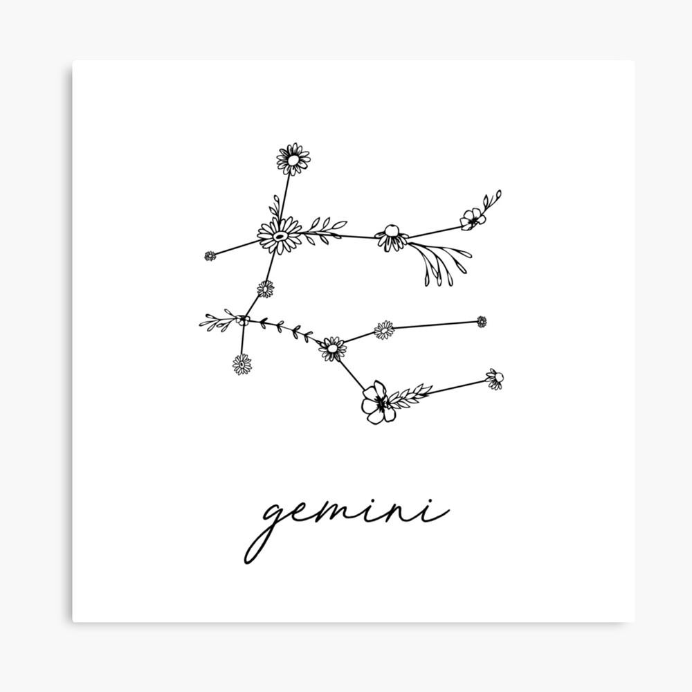 Gemini Sternzeichen Wildblume Konstellation Leinwanddruck