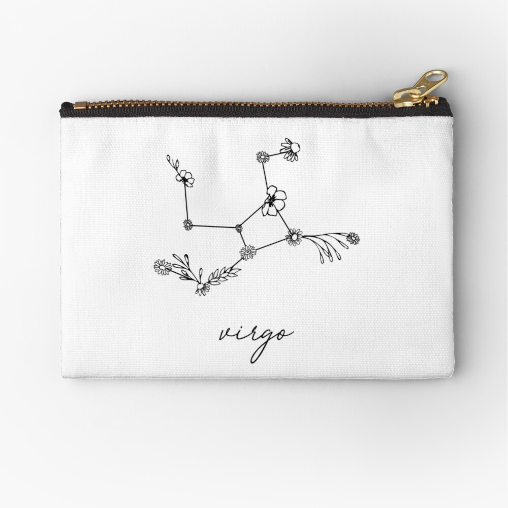 Virgo Zodiac Wildflower Constellation Zipper Pouch