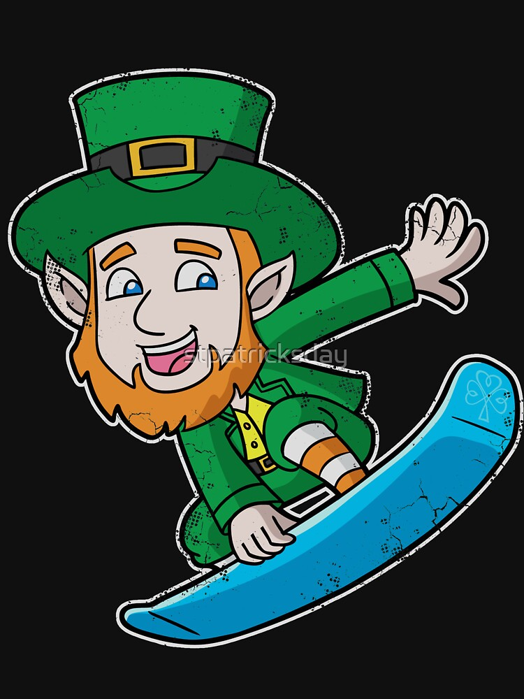 Irish Snowboarding Leprechaun  by stpatricksday