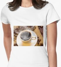 Morning Hot Coffee Women's Fitted T-Shirt