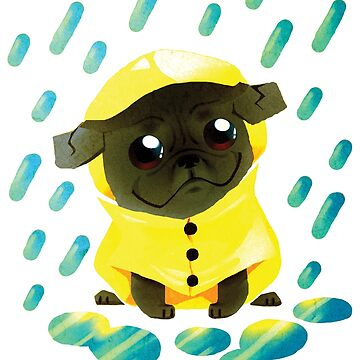 Pug in Puddles by Paigekotalik