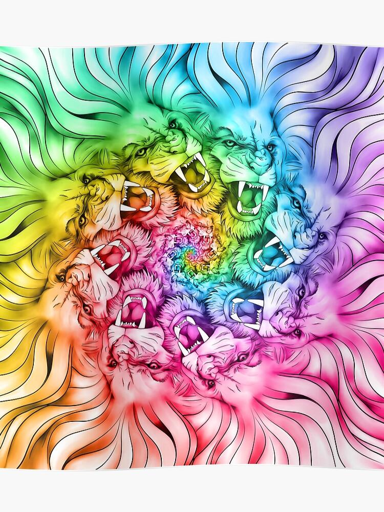 Pride of Lions Gay Pride Proud LGBT pride design Gay Flag Rainbow Colored  Lion Roar Loudly Cat Mandala Art   Poster