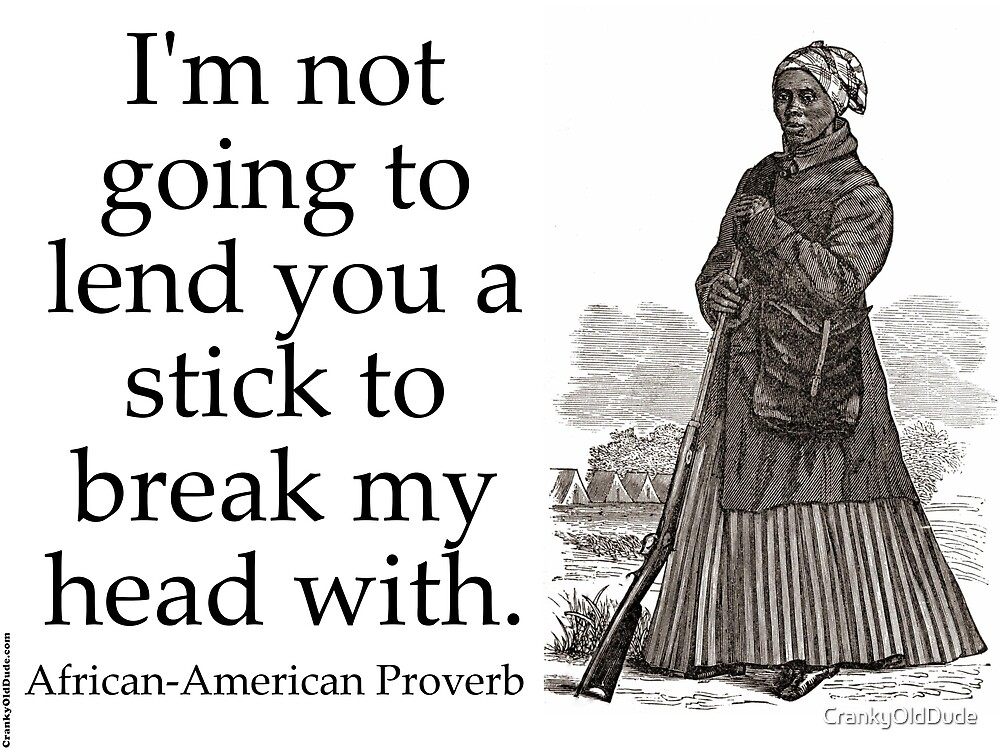 I'm Not Going To Lend You A Stick - African-American Proverb by CrankyOldDude