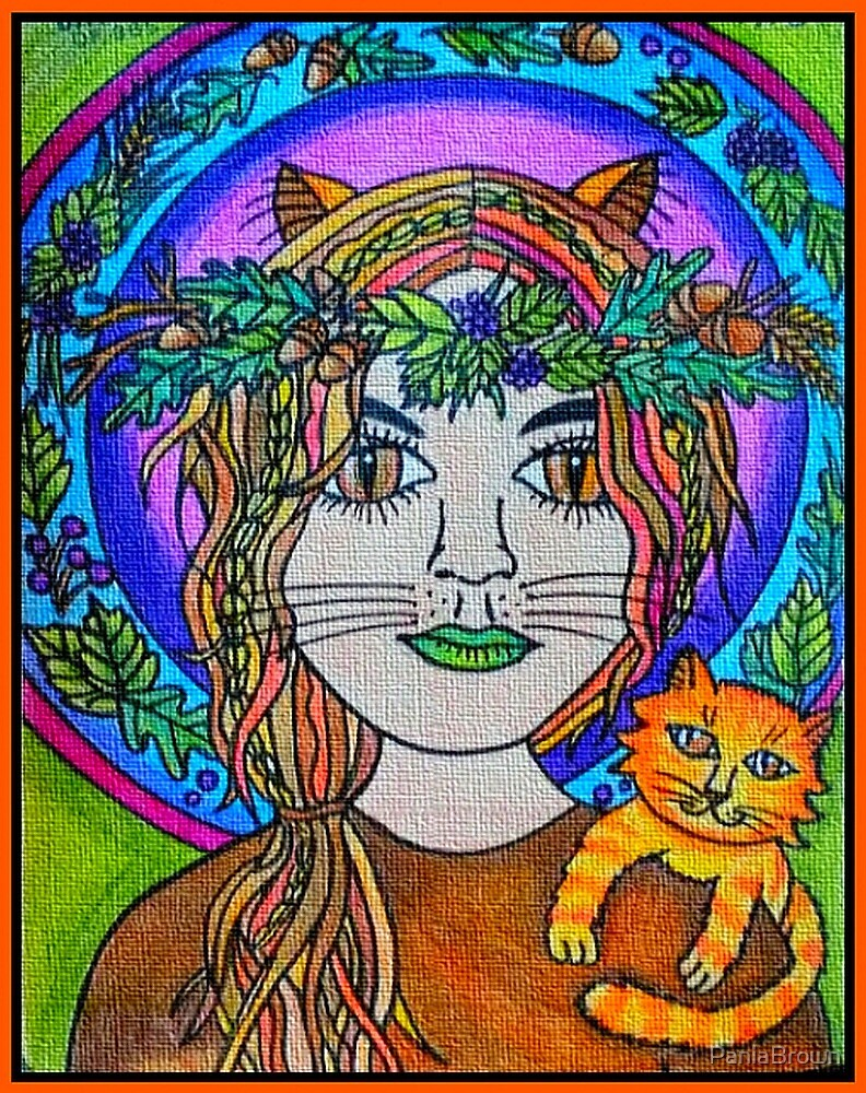 Autumn Girl with Cat by PaniaBrown