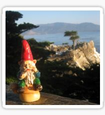 Gnome with Monterey's Lone Cypress Sticker