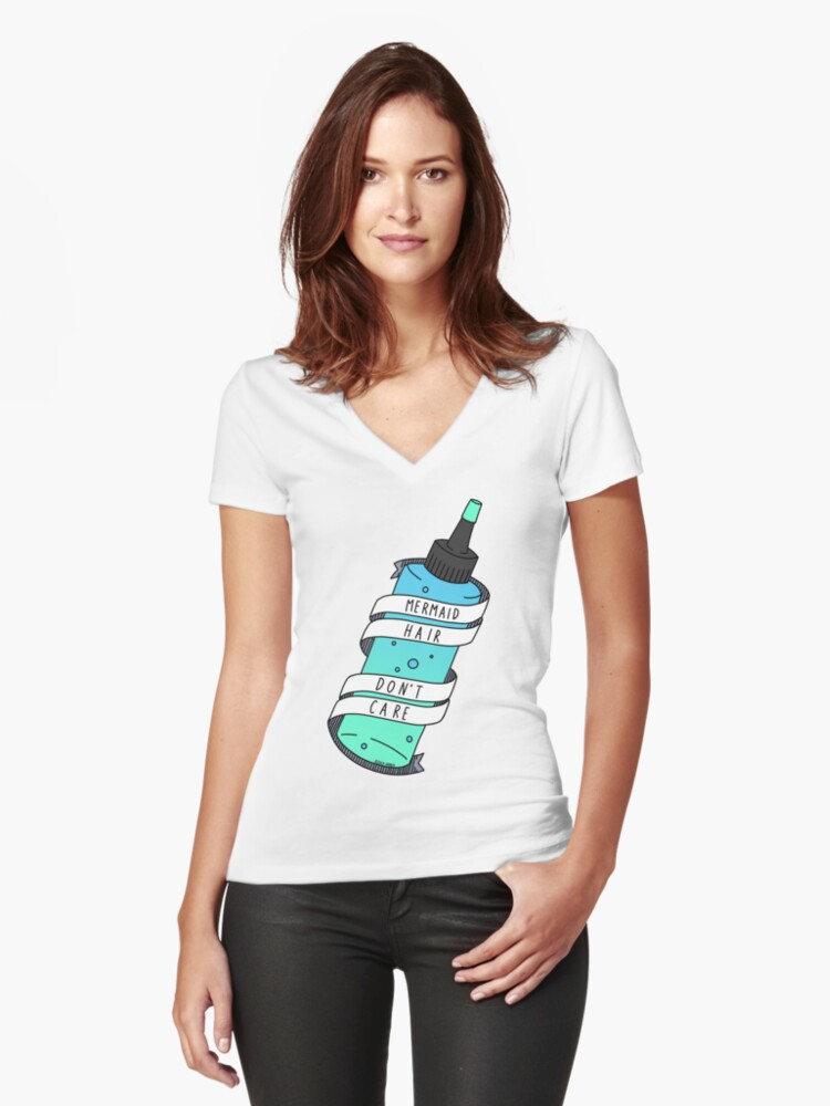 Mermaid Hair Don't Care  Women's Fitted V-Neck T-Shirt Front