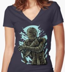 The Mummy In Bandage Trouble Women's Fitted V-Neck T-Shirt