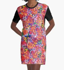Coral Roses Graphic T-Shirt Dress