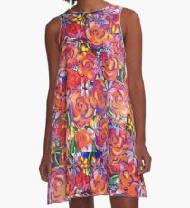 Coral Roses A-Line Dress