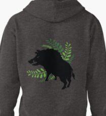 Wild Boar and Fern Design Pullover Hoodie