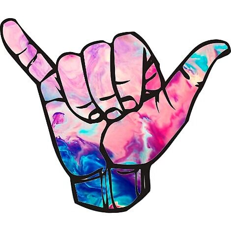 bright marble shaka by stickersnstuff