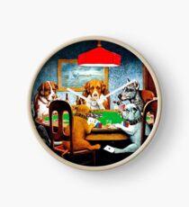 DOGS PLAYING POKER : Vintage C M Coolidge Print Clock