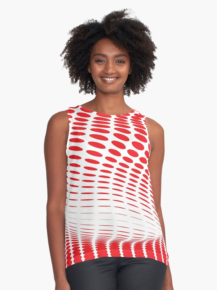 Red Dots Abstract Art Contrast Tank Front