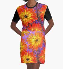Orange Gerberas Graphic T-Shirt Dress