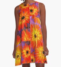Orange Gerberas A-Line Dress