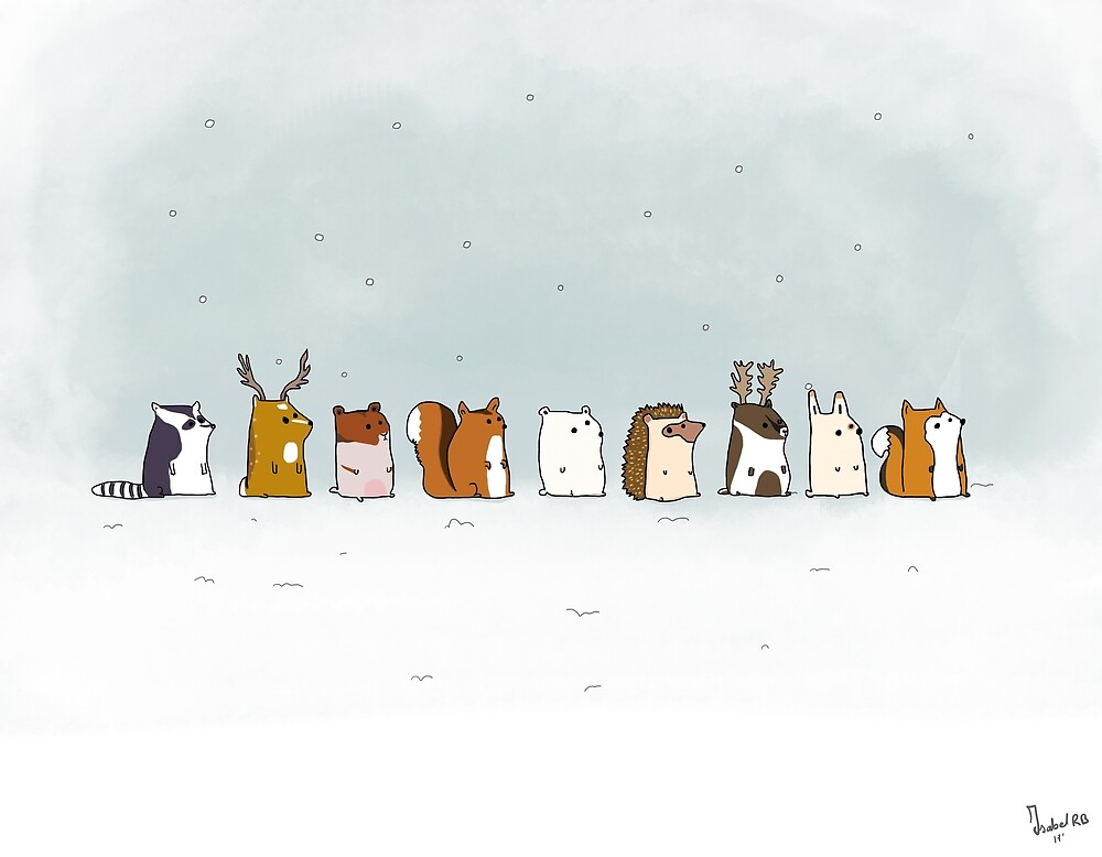 Winter animals in the snow - Digital Illustration by Isabel  Rosemblatt Bono
