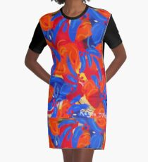 Blue Petals Graphic T-Shirt Dress