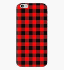 Classic Dark Red and Black Lumberjack Buffalo Plaid Fabric iPhone Case