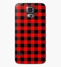 Klassischer dunkelroter und schwarzer Holzfäller Buffalo Plaid Stoff Hülle & Klebefolie für Samsung Galaxy
