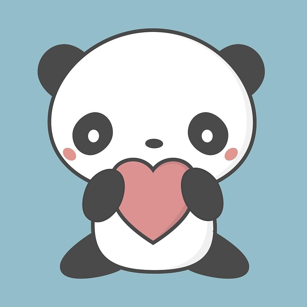 Kawaii Cute Panda With A Heart T-Shirt by wordsberry