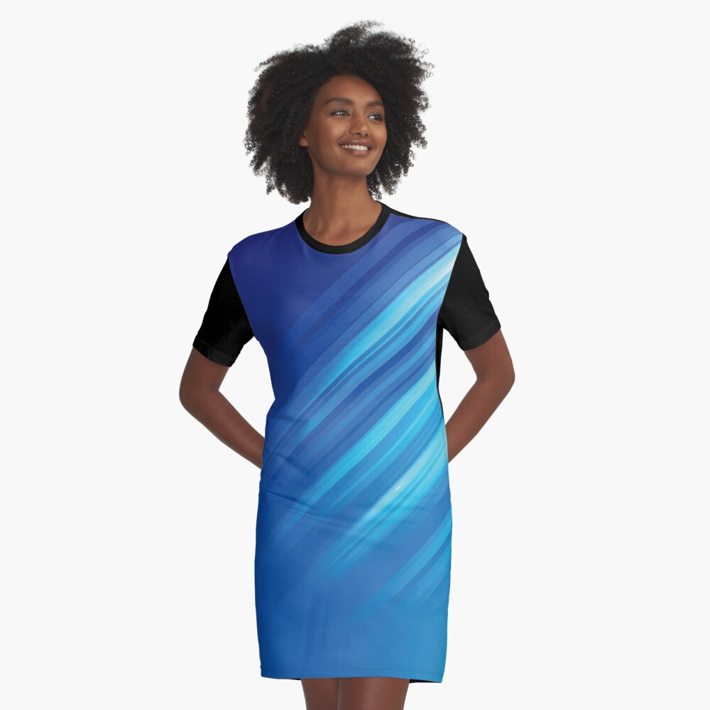 Blue Lines Abstract Art Graphic T-Shirt Dress Front