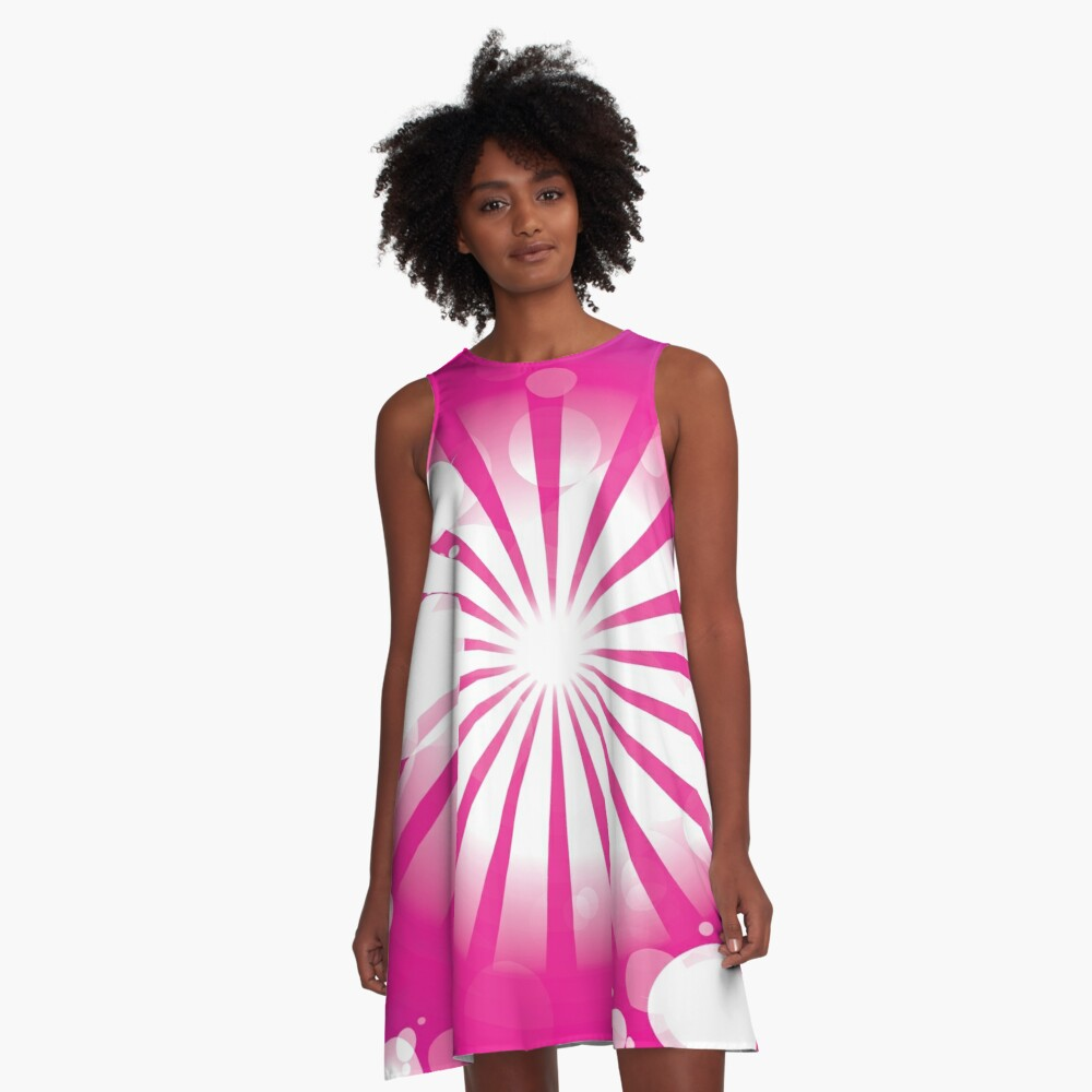 Purple Lines Abstract Art A-Line Dress Front