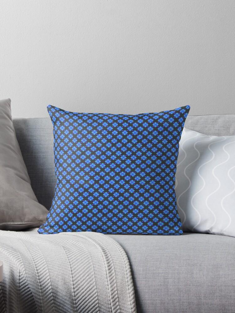 Pastel Blue, Royal Blue and Black Argyle Retro Pattern by coverinlove