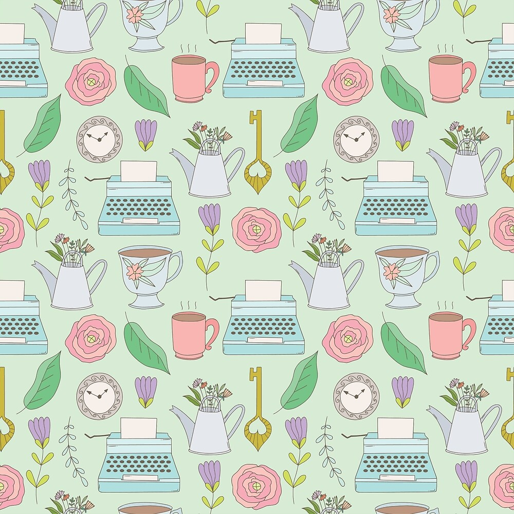 Cute pattern with typewritter and flowers. by Senpo