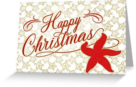 Happy Christmas Starfish Nautical Beach Theme by Doreen Erhardt