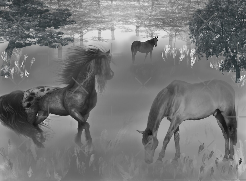 Foggy morning pasture by Meeechelle