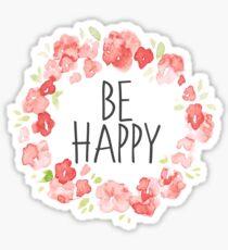 Be Happy Rose Petal Watercolor Frame  Sticker