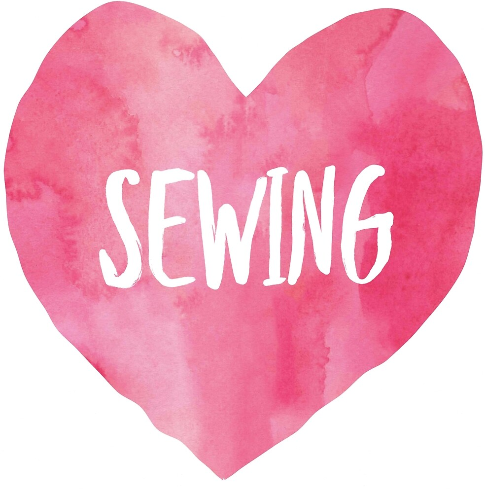 Love Sewing Pink Watercolor by duckcloth