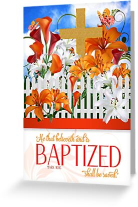 Mark 16 Bible Scripture with Cross and Lily Garden by Doreen Erhardt
