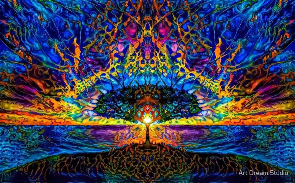 Magical tree and sun by Art Dream Studio