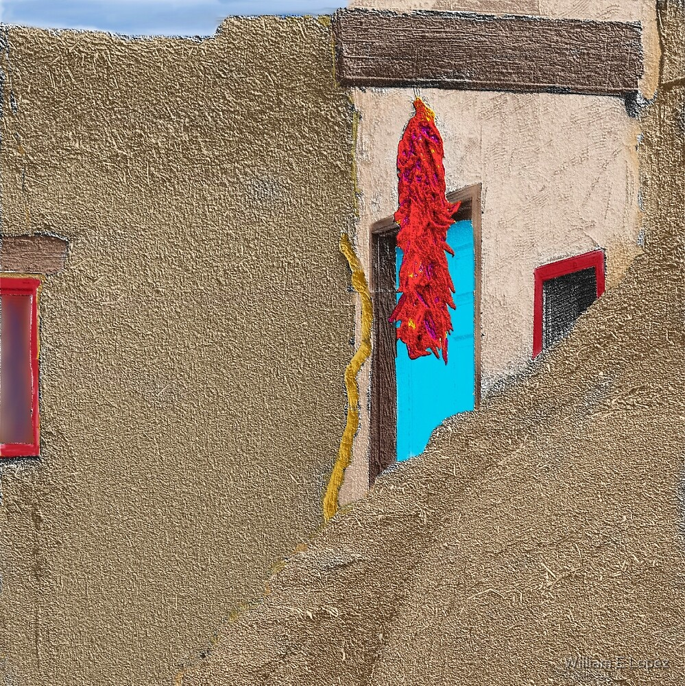 Southwest Chile Ristra Hanging in Taos Pueblo, NM by William E Lopez