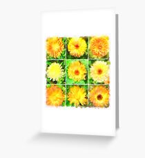 Watercolour Collage of Yellow And Orange Marigolds Greeting Card