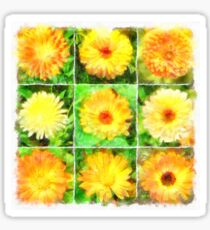 Watercolour Collage of Yellow And Orange Marigolds Sticker