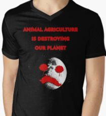 ANIMAL AGRICULTURE IS DESTROYING OUR PLANET Men's V-Neck T-Shirt