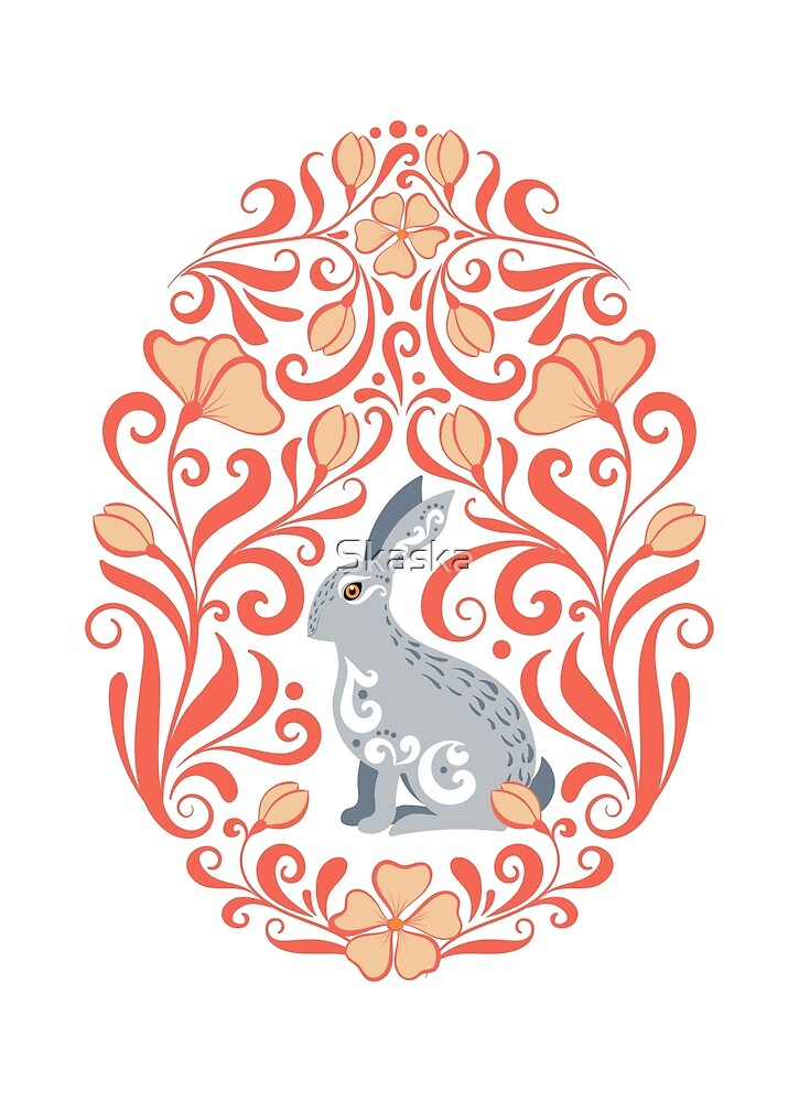 Easter egg with bunny rabbit and ornament.  by Skaska